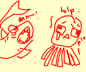A red squid is afraid of a shark