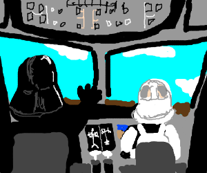 Vader and a stormtrooper are airline pilots