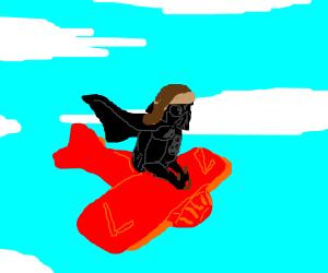 Darth Vader flys a plane