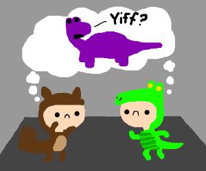 Costumed twerking honors late Yiff-Saurus Rex.