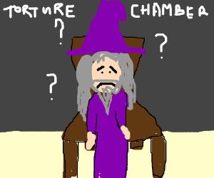 clueless wizard in chair awaits punishment