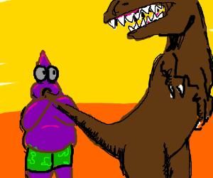 Dark Patrick suck a T-rex