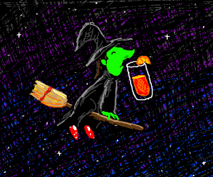 witch sniffs orange juice in space