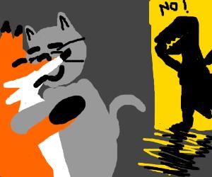 Fox cheats on dinosaur with cat