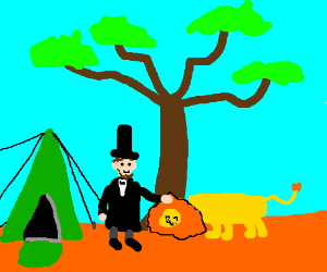 Lincoln camping with his pet lion.