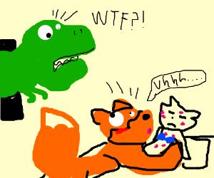 T-rex walks in on Foxy kissing a cat