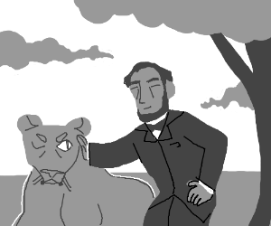 Abe Lincoln pets lion on the Serengeti