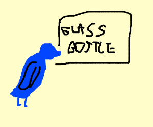 Bird can't figure out glass bottle