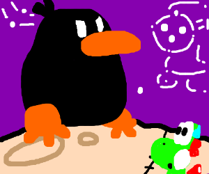 Gunter is on the moon while Yoshi looks at him