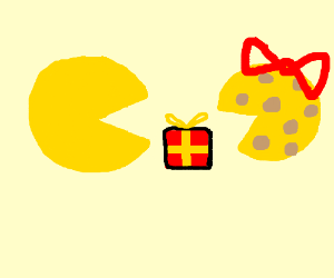 Pac-Man gives a gift to Ms. Cheese Wedge.