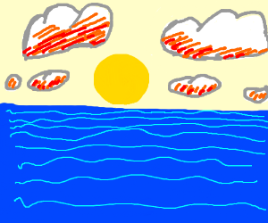 ocean landscape with yellow sun