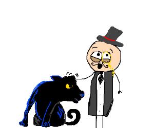 Dapper man pets a panther.