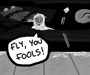 Gandalf, hit by car, tells fellowship to flee.