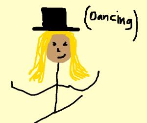 Fabio dances with a top hat