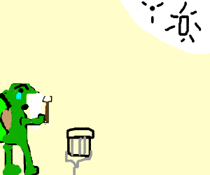 A wise old drummer tortoise gazes at the moon.