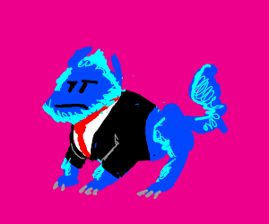Blue furry creature in a suit and tie