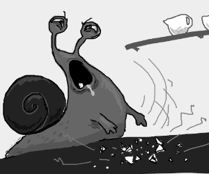 An angry snail with arms breaks something.
