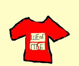 Red T-shirt with a transfer and cool slogan.