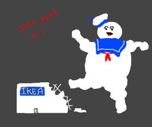 Stay Puft Marshmallow Man destroys Ikea.
