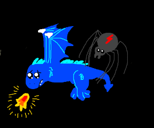 Oh no spider catches flying baby dragon