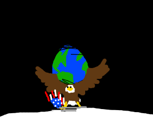Bald eagle carrying American flag goes to moon
