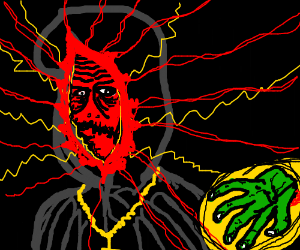 Red, glowing cultist is given a green hand.