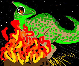 green spotted dinosaur stares at campfire