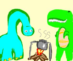 dinosaur eating gray beans