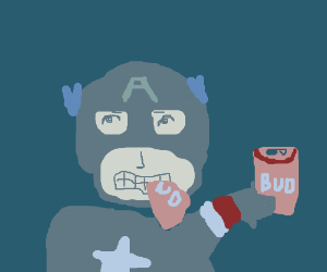 American man eating beer cans