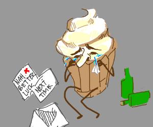 Sad cupcake gets a rejection letter.