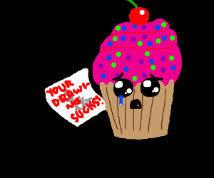 Cupcake distressed over criticism on drawing