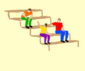 Three guys sitting on stairs