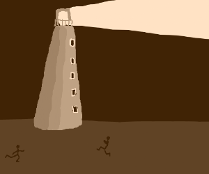 Two people running towards a lighthouse