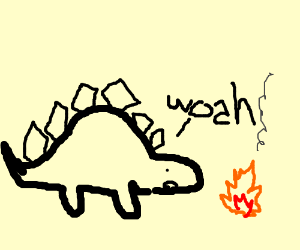 Dinosaur discovers fire