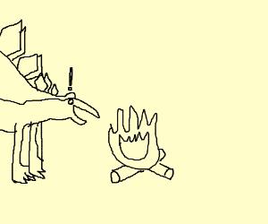 Stegosaurus discovers fire!
