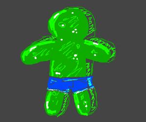 Green Jello Cube Man likes Daisy Dukes