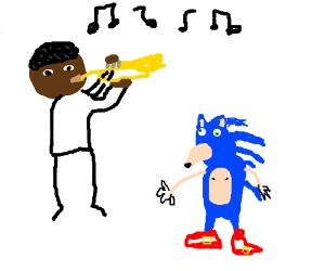 Louis Armstrong teaching trumpet to Sanic