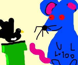 Black pan piper agains strange blue boss rat