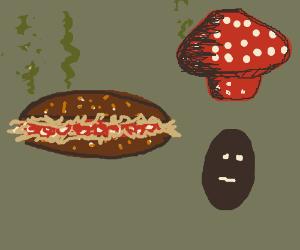 a 3 decker sauerkraut and toadstool sandwich