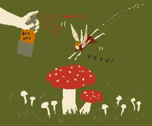 Fairy girl rushes towards edible(?) mushrooms.