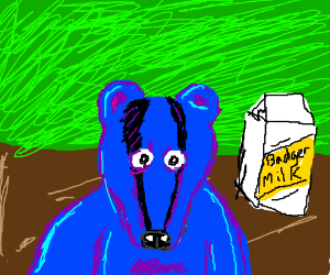 A blue and purple badger.