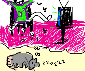 Rat Dreams of Man Birthing Maggots Watching TV