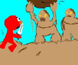 Elmo fights sand golems in the desert.