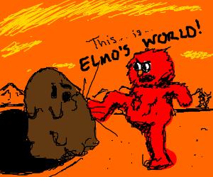 Elmo goes all 300 on mud monsters