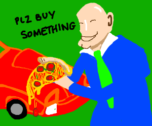 Salesman sells used cars and pizza