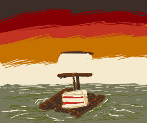A piece of cake adrift (on a raft) at sea.
