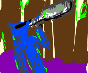 Blue Badger drinks Badger Milk in forest