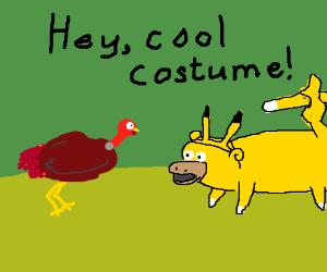 Pikachu likes the turkey's costume