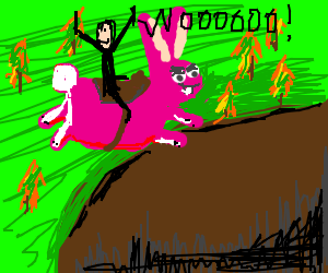 An awesome guy rides a giant bunny off a cliff