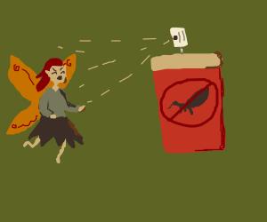 Spraying fairies with bug spray